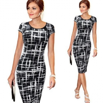 Fashion Sexy Summer Women Dress Short Sleeve Print Slim Ladies Office Dress Female Clothes black l