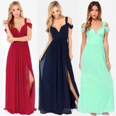 European American Sexy Women Party Dress V Neck Backless Chiffon Evening Dress Female Costumes blue s