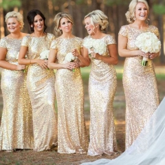 Fashion Bridesmaid Dress Short Sleeve Sequined Backless Sexy Bridesmaids Wedding Dresses Costumes Gold s