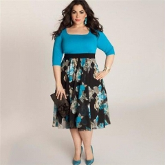 Fashion Plus Size Women Dress Spring Summer Half Sleeve Print Sexy Dressess Female Costumes blue l