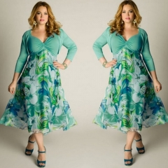 Plus Size Female Costumes Dresses Spring Autumn Full Sleeve Print V Neck Sexy Women Dresses green l