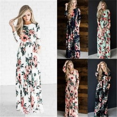 2017 Summer Women Maxi Dress Elegant Print  Flower Full Sleeve Dresses Women Clothes Size S-2XL white s