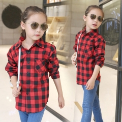Fashion Plaid Children Girls Blouses All-Match Long Sleeve Girls Shirts Cotton Kids Tops 5-12 Y Red 5T