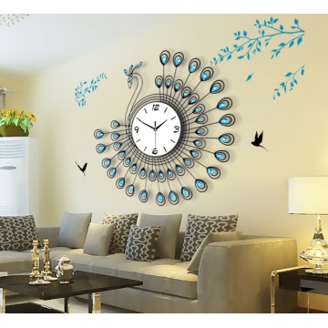 Creative Peacock Alarm Clock Wrought Iron Clocks Living Room Decorative  Wall Clock Quartz Wall Clock Blue