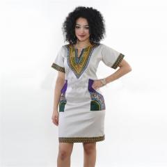 2017 Summer Sexy Dashiki dress Print Shirt Dresses Femme Vintage Mini hippie Plus Size Boho Dresses Gray S