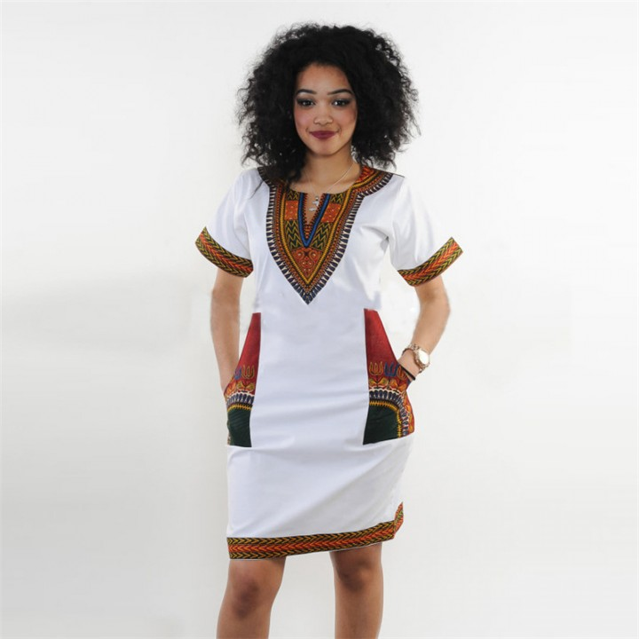 2017 Summer Sexy Dashiki dress Print Shirt Dresses Femme Vintage Mini hippie Plus Size Boho Dresses White M