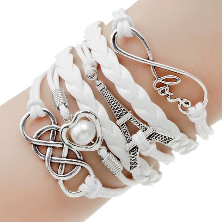 2017 New Fashion Jewelry Leather Bracelet Women Jewelry Lady Best Friends Gift White One size