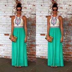 2017 New Sexy Sleeveless Geometry Print Long Dress Hollow Out High Waist Maxi Dress Green S