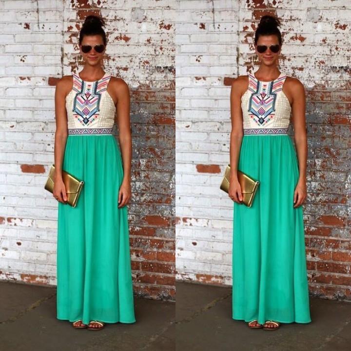 2017 New Sexy Sleeveless Geometry Print Long Dress Hollow Out High Waist Maxi Dress Green L