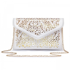 2017 Women Clutch Handbags Envelope Hollow Out Messenger Bags Pu Leather Lady Clutches Shoulder Bags White One size