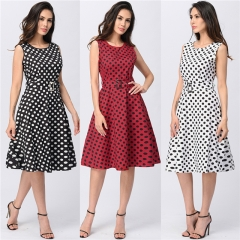 2017 Womens Vintage Polka Dot Dresses Work Office Casual Dress Sundress OL Style Dress Plus Size Black L