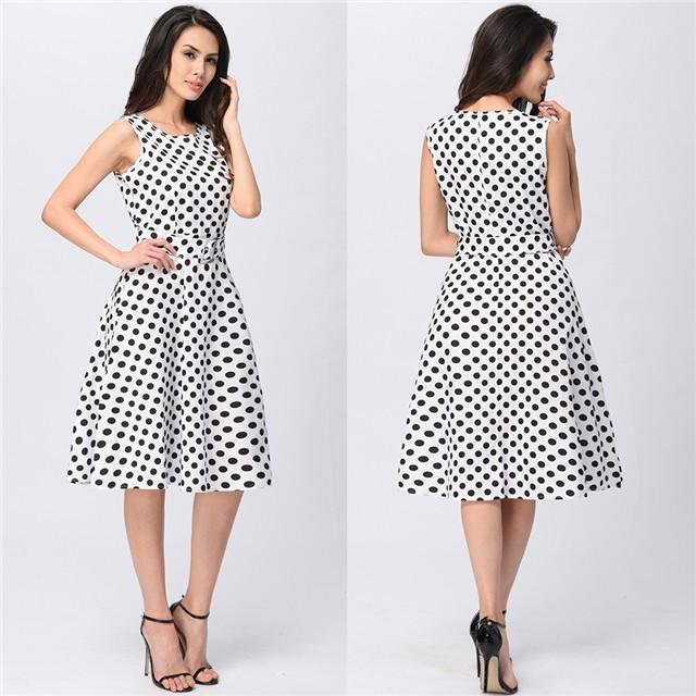 2017 Womens Vintage Polka Dot Dresses Work Office Casual Dress Sundress OL Style  Dress Plus Size 068d33e4429d