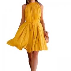 2017 Summer Sexy Fashion Beach Dress Sleeveless Mini Dresses Party Dress OL Style Dress Plus Size S