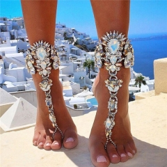 Fashion Bracelet Wedding Barefoot Sandals Beach Foot Jewelry Leg Chain Anklet Boho Crystal Bracelet Silvery One size