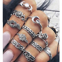 11pcs/set Women Carved Moon Ring Set Vintage Hollow Leaf Rhinestones Knuckle Finger Jewelry Rings Silver 11pcs/set
