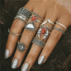 Classic 14PCS/Set Women Vintage Carving Moon And Sun Knuckle Rings Set  Big Red Stone Midi Ring Silver 14pcs/set