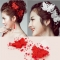 Women Hair Jewelry Accessory Wedding Bridal Bridesmaid Crystal Pearl Butterfly Hair Clip Tiara Red 1 pcs