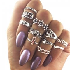 11pcs/set Women Carved Moon Ring Set Vintage Hollow Leaf Rhinestones Knuckle Finger Jewelry Rings Silver 11 PCS/Set