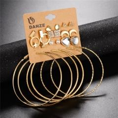 NEW Fashion Simple 12 Pair / Set Stud Earring Charm Crystal Rhinestones Punk Vintage Carved Earrings Gold 12 Pair / Set