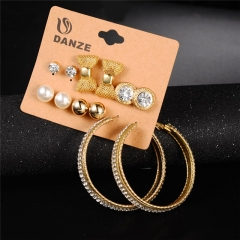 NEW Fashion Simple 6 Pair / Set Stud Earring Charm Crystal Rhinestones Punk Vintage Carved Earrings Gold 6 Pair / Set