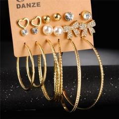 NEW Fashion Simple 9 Pair / Set Stud Earring Charm Crystal Rhinestones Punk Vintage Carved Earrings Gold 9 Pair / Set