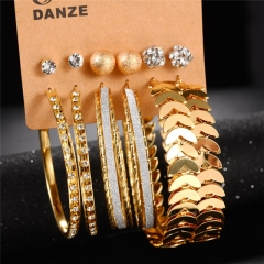 NEW Fashion Simple 6 Pair / Set Stud Earring Charm Crystal Rhinestones Punk Vintage Carved Earrings Gold 6 Pair / Set