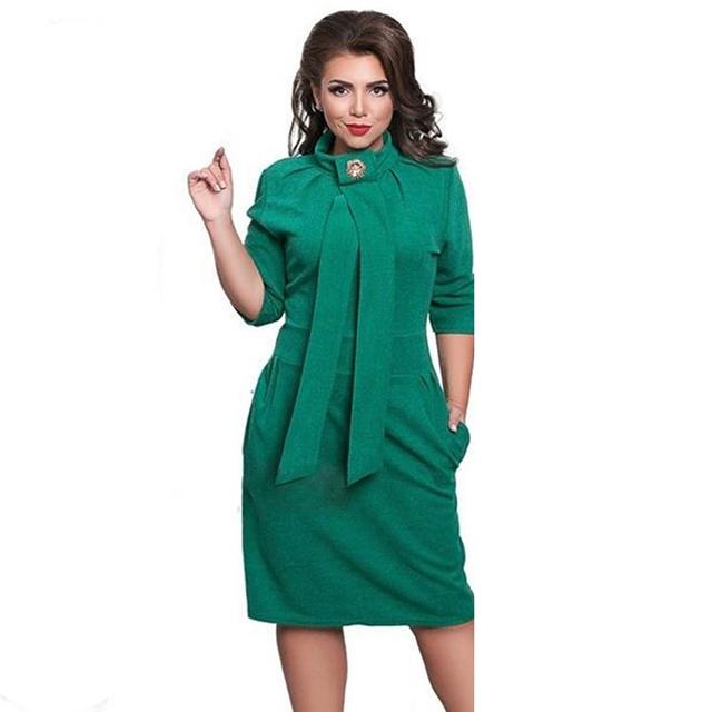 2017 New Dress Women Plus Size Felame Ladies Turtleneck 6XL Oversized Sexy Knee Length Dress Party Green XXL