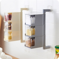 Seasoning Storage Boxes Spice Jar Kitchen Condiment Box Spices Storager Wall Hanging Rotating  Tools Gray C