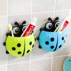 Cartoon Ladybug Shape Toothbrush Holder with Sucker Toothpaste Storage Rack Bathroom Accessories Blue One size