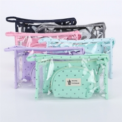 3 Set Casual Women Travel Cosmetic Bag PVC Leather Make Up Transparent Makeup Case Toiletry Bags Random