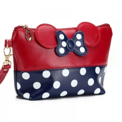 Travel Cosmetic Bag Cartoon Bow Makeup Case Women  Holding Make Up Handbag Pouch Toiletry Wash Bags red
