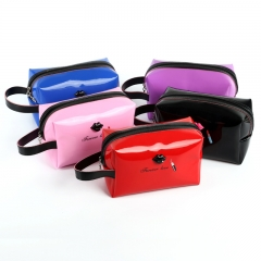2018 Women Female Travel Portable PU Case Color Cosmetic Bag Sweet Packing Makeup Case red