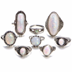 Classic 8PCS/Set Women Vintage Rings Set Big Stone Midi Ring Silver 8pcs/set Silver 8PCS / Set