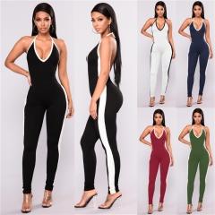 Stripe casual women jumpsuit romper Elastic suit jumpsuit romper  fitness playsuit jumpsuit Black S