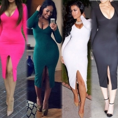 Women Dresses Fashion Elegant V-neck Full Sleeve Bifurcation Bodycon Pencil Party Sexy Dresses S Pink