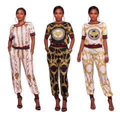 Summer Traditional African Clothing 2 Piece Set Women Africaine Print Dashiki Dress African Clothes White 1 S
