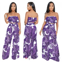 Printed Strapless Two Pieces Set Women Leaves Pattern Ruffles Sleeveless Top Empire Wide Pants Set Purple S