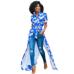 Women's Elegant Sexy Front Button Plaid Print Long Sleeve Summer High Slit Fashion African Dress S Blue