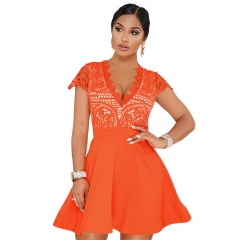 2018 Fashion new lady bodycon sexy V-neck less embroidery mdni dress women solid short sleeve dress S Orange