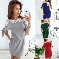 Women New Fashion Casual Style Lace Patchwork Dress Summer Short Dress Elegant Vintage Party Dresses S Gray