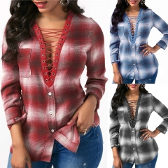 Women Blouses Spring Long sleeve Plaid Shirt Office Lady Shirts Sexy Lace Blouse Casual Tops Blusas Red S