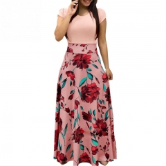 New Women's Dress Floral Printed Short Sleeve Fashion Maxi Dress for Ladies Female Holiday Wear L Pink
