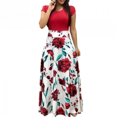 New Women's Dress Floral Printed Short Sleeve Fashion Maxi Dress for Ladies Female Holiday Wear L White