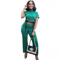 Women Fashion 2 Piece Set Summer Double Side Lace Up Short T Shirts And High Waist Straight Trousers Green XL