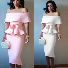 Fashion Women Sexy Two Piece Dress Vintage Summer White Pink Strapless Shoulder Off Lotus Party Wear S Pink