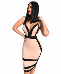Contrast Color Patchwork Sexy Bandage Dress Summer Spaghetti Strap V Neck Pencil Vestidos Lady Party XL Picture color