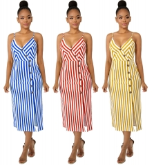 Striped Dress Women Summer Spaghetti Strap Dress Ladies Sexy Backless Lace-up Bow Tie Casual Dresses XL Blue