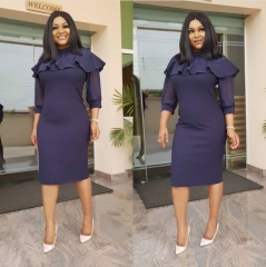 Fashion Ruffles Beading Office Casual Pencil Dress Women's Sexy Slim Hip Bodycon Dress Plus Size L Blue