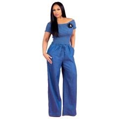 Sexy Women Denim Jumpsuit Blue Jean Loose Rompers Wide Leg Pants Long Trousers Overalls Jumpsuit Blue S
