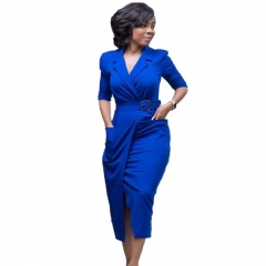 Fashion women loose elegant office dress Sexy Front Split Business Work wear bodycon Sheath dres S Blue